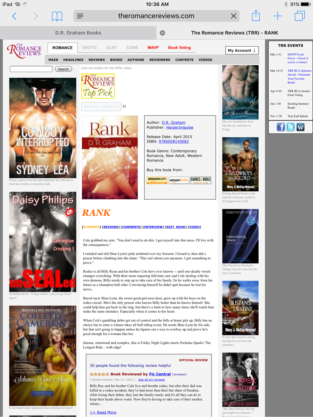 Rank by D.R. Graham Readers Choice Top Pick Contemporary Western Romance and New Adult